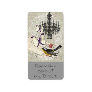 vintage Bird  chandelier chic  Paris Address Label
