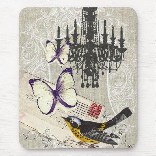 vintage Bird chandelier chic Paris Mouse Pad
