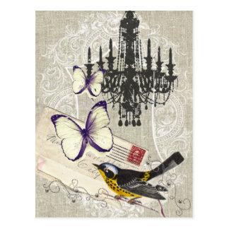 vintage Bird chandelier Vintage Paris Post Cards