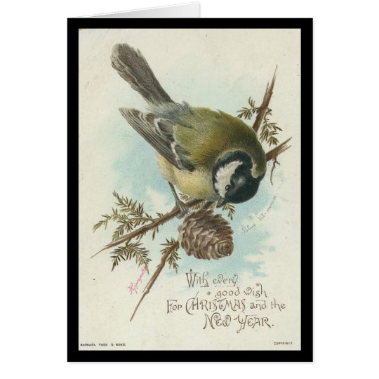 Vintage Bird Christmas and New Year Card