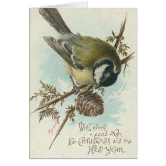 Vintage Bird Christmas and New Year Greeting Card