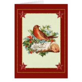 Vintage Bird Christmas Greeting Card