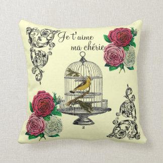 Vintage Bird Collage Throw Pillow