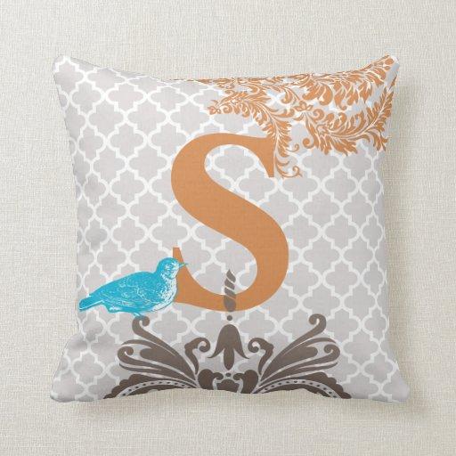 Bird Pattern Throw Pillow : Vintage Bird Coral Gray Aqua Monogram Tile Pattern Throw Pillow Zazzle