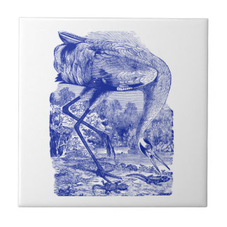 Vintage Bird Drawing | Blue | Whooping Crane Tile