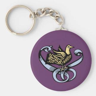 Vintage Bird Emblem Basic Round Button Keychain