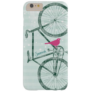 Vintage Bird Emerald Green Bike Pattern Barely There iPhone 6 Plus Case