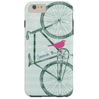 Vintage Bird Emerald Green Bike Pattern Iphone 5 Tough iPhone 6 Plus Case
