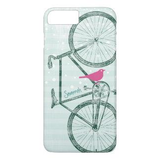 Vintage Bird Emerald Green Bike Pattern iPhone 7 Plus Case
