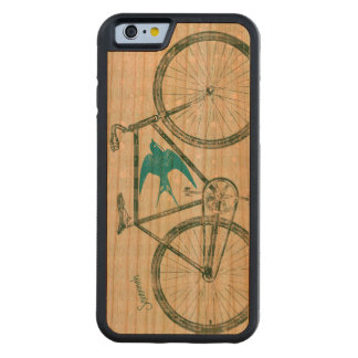 Vintage Bird Emerald Green Bike Pattern on Wood Carved Cherry iPhone 6 Bumper Case