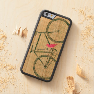 Vintage Bird Emerald Green Bike Pattern on Wood Carved® Cherry iPhone 6 Bumper Case