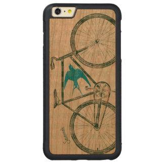 Vintage Bird Emerald Green Bike Pattern on Wood Carved® Cherry iPhone 6 Plus Bumper Case