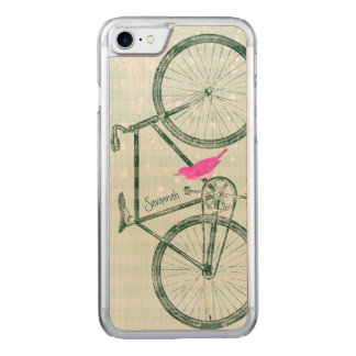 Vintage Bird Emerald Green Bike Pattern on Wood Carved iPhone 8/7 Case