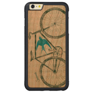 Vintage Bird Emerald Green Bike Pattern on Wood Carved® Cherry iPhone 6 Plus Bumper