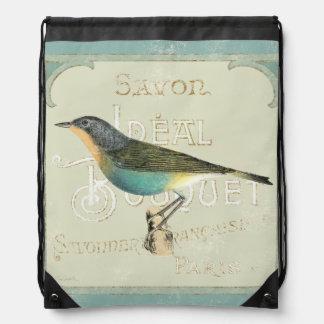 Vintage Bird Facing the Left Drawstring Bag