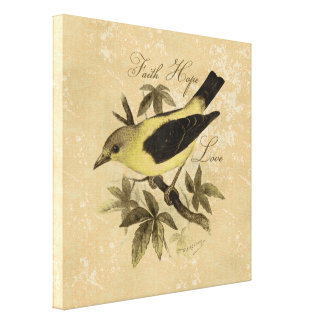 Vintage Bird Faith Hope Love Wrapped Canvas Print