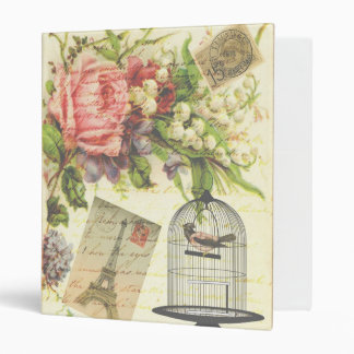 Vintage Bird Floral French Paris Eiffel Tower 3 Ring Binder