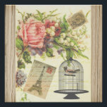 "Vintage Bird Floral French Paris Eiffel Tower Poster<br><div class=""desc"">A vintage cute birdcage and girly pink floral with french Paris Eiffel Tower .A shabby chic bird floral pattern on paper texture background. Get this elegant vintage french bird floral for her on any occasion.</div>"