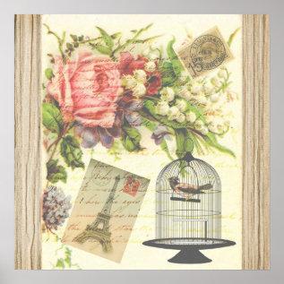Vintage Bird Floral French Paris Eiffel Tower Poster at Zazzle