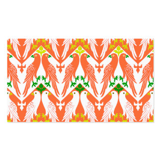 Vintage Bird & Floral Pattern in Orange Double-Sided Standard Business Cards (Pack Of 100)