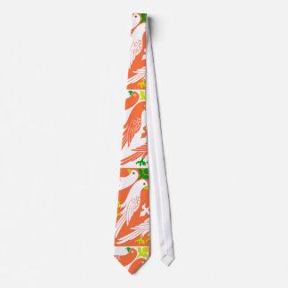 Vintage Bird & Floral Pattern in Orange Tie