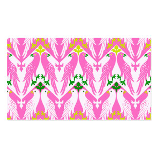 Vintage Bird & Floral Pattern in Pink Double-Sided Standard Business Cards (Pack Of 100)