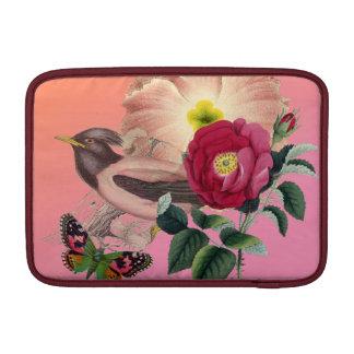 Vintage Bird Flowers Butterfly Coral Pink Collage MacBook Air Sleeve