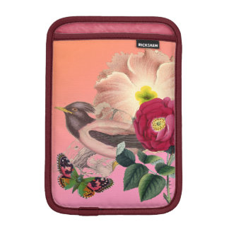 Vintage Bird Flowers Butterfly Coral Pink Collage Sleeve For iPad Mini