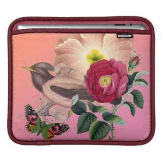 Vintage Bird Flowers Butterfly Coral Pink Collage Sleeve For iPads