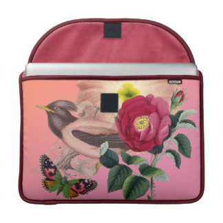 Vintage Bird Flowers Butterfly Coral Pink Collage Sleeve For MacBook Pro