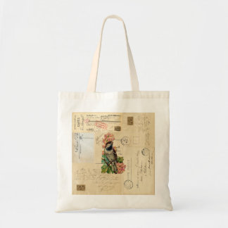 Vintage Bird Flowers French Postcards Bag