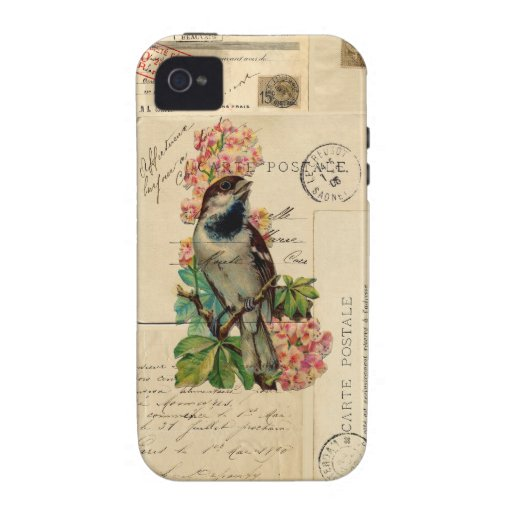 Vintage Bird Flowers French Postcards Case Case-Mate iPhone 4 Cases