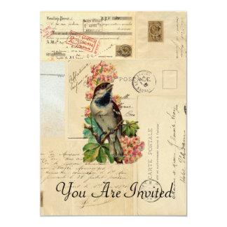 Vintage Bird Flowers French Postcards Invitation