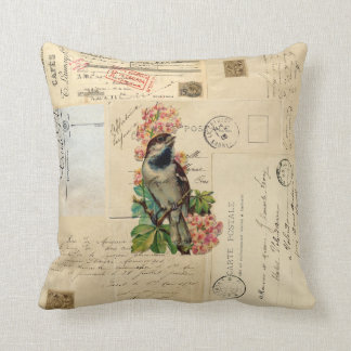 Vintage Bird Flowers French Postcards Pillow