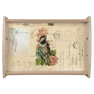 Vintage Bird Flowers French Postcards Tray Food Trays