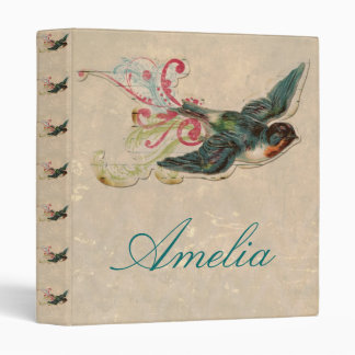 Vintage bird flying cut out girly cute victorian binders