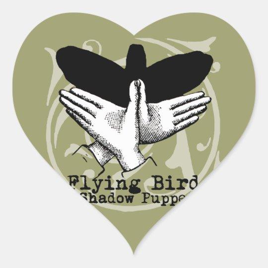 Vintage Bird Hand Puppet Shadow Games Heart Sticker