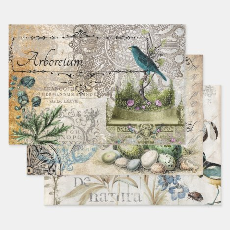 VINTAGE BIRD HEAVY WEIGHT DECOUPAGE PRINTS WRAPPING PAPER SHEETS