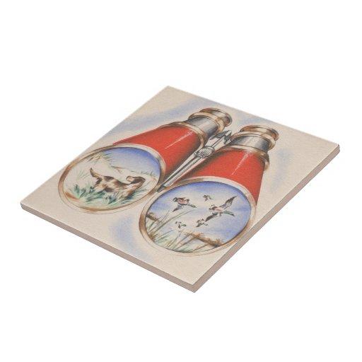 Vintage Bird Hunting Dog Sport Still Life Ceramic Tile