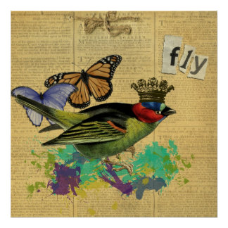 Vintage Bird Illustration Collage Poster
