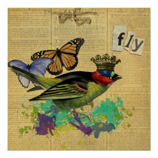 Vintage Bird Illustration Collage Poster