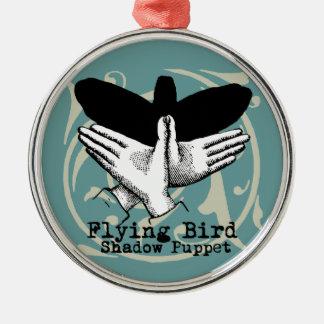 Vintage Bird Illustration Puppet Shadow Games Metal Ornament