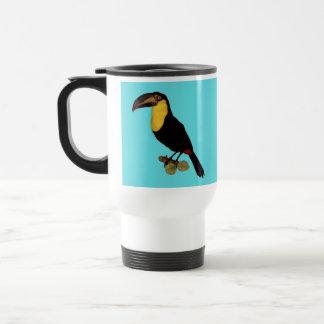 VINTAGE BIRD IMAGE OF A YELLOW-THROATED TOUCAN, TRAVEL MUG