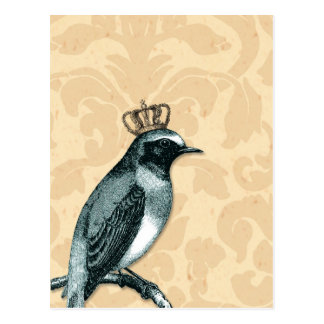 Vintage Bird in Crown Postcard