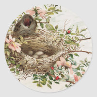 Vintage Bird in Nest Animal Print Classic Round Sticker