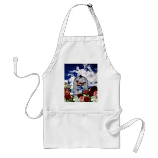 Vintage bird in the cage adult apron