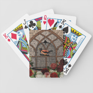 Vintage bird in the cage bicycle playing cards