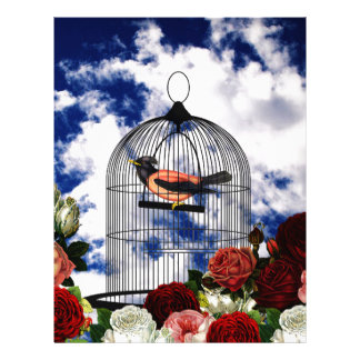 Vintage bird in the cage letterhead