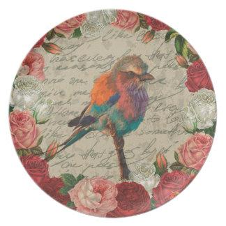 Vintage bird melamine plate