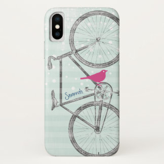 Vintage Bird Mint Green Bike Pattern iPhone X Case